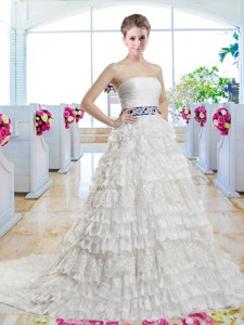 Popular Belt and Laced Bridal Gowns with Ruffled Layers
