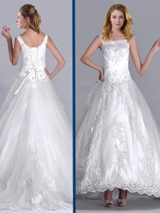 Elegant Scoop Brush Train Tulle Wedding Dress With Beading And Embroidery