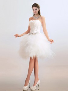 Lovely Ball Gown Short Wedding Dress With Feather And Beading