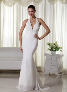 Beautiful Column Halter Brush Train Chiffon Appliques Wedding Dress