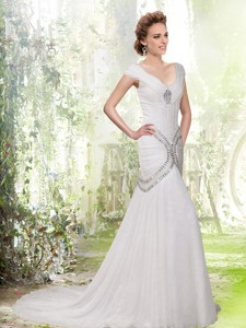 Elegant Mermaid V Neck Rhinestone Cap Sleeves Wedding Dress