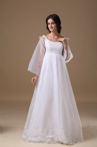 Beautiful Scoop Floor-length Organza Lace Wedding Dress
