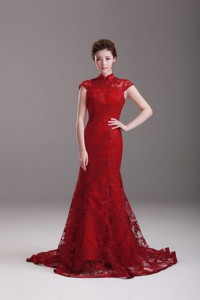 Exquisite Cap Sleeves Mermaid Wine Red Wedding Dress With Brush Train