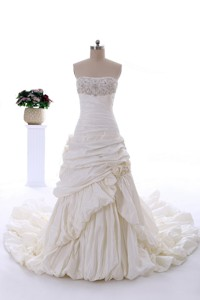Classical Court Train Wedding Dress with Beading