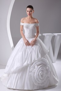 Beading Off The Shoulder Court Train Wedding Dress