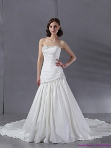 Ruched Beaded Strapless White Wedding Dress With Chapel Train