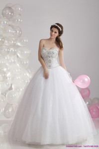 Popular White Sweetheart Rhinestones Bridal Gowns with Brush Train