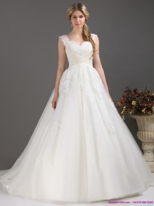 Sequines Lace Sweetheart White Wedding Dress With Brush Train