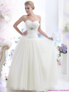 Simple Sweetheart Wedding Dress With Beading