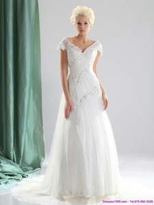 Brand New Beading And Lace Wedding Dress With Court Train