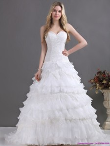 Brand New Sweetheart Wedding Dress With Lace And Ruffles