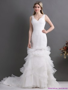 Luxurious V Neck Wedding Dress With Ruching And Ruffles