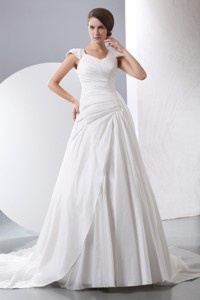 Simple V-neck Chapel Train Taffeta Ruch Wedding Dress