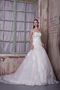 Custom Made Sweetheart Court Train Taffeta And Lace Hand Made Flowers Wedding Dress