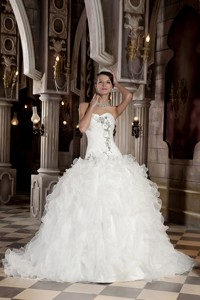 Beautiful Ball Gown Sweetheart Court Train Organza Beading and Ruffles Wedding Dress