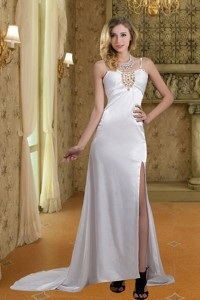 Column Straps Wedding Dress With Brush Train