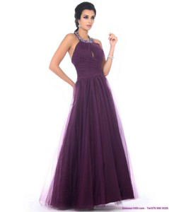 Gorgeous Halter Top Prom Dress With Ruching And Beading