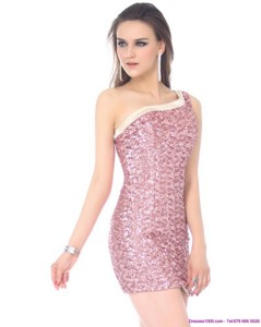 Elegant One Shoulder Sequins Mini Length Prom Dress