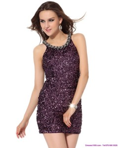 Pretty Bateau Mini Length Prom Dress With Sequins
