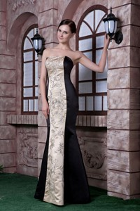Low price Black and Champagne Evening Dress Mermaid Strapless Embroidery Satin Floor-length