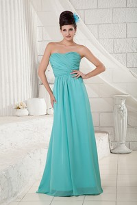 Pretty Turquoise Bridesmaid Dress Empire Sweetheart Chiffon Ruch Brush Train