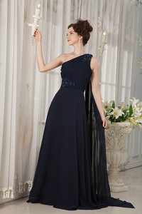 Navy Blue Mother Of The Bride Dress Empire One Shoulder Watteau Train Chiffon Beading