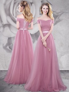 Popular Brush Train Off the Shoulder Prom Dress in Pink
