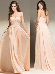 Best Selling Belted Empire Peach Prom Dress in Chiffon