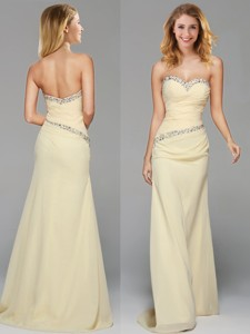 Romantic Beaded Side Zipper Light Yellow Prom Dress with Brush Train