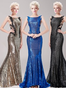 Discount Square Sequined and Applique Prom Dress with Brush Train