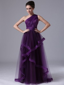One Shoulder Tulle Empire Purple Ruched Prom Dress