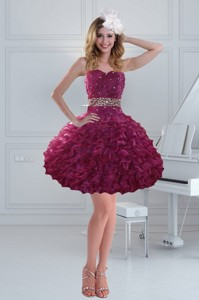 Fashionable Beaded Strapless Ruffled Prom Dress