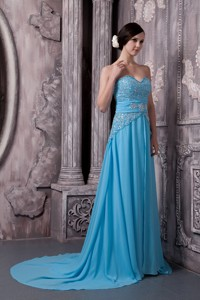 Aqua Blue Prom Dress Empire Sweetheart Chiffon Beading Court Train
