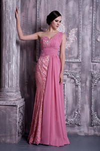 Exclusive Rose Pink Column Prom Dress One Shoulder Beading Chiffon Floor-length