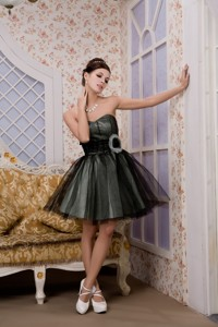 Black Pricess Sweetheart Mini-length Tulle Hand Made Flower Prom Homecoming Dress
