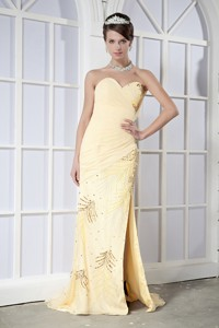 Light Yellow Column Sweetheart Brush Train Chiffon Sequins Prom Dress