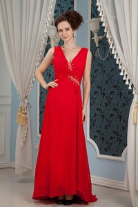 Sweet Red Column Prom Dress V-neck Beading Brush Train Chiffon