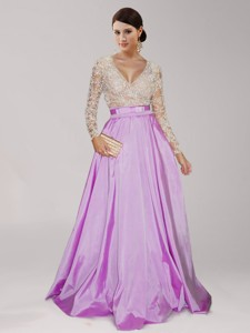 Perfect Deep V Neckline Long Sleeves Lilac Prom Dress with Beading and Belt