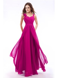 Unique Straps Fuchsia Long Prom Dress with Hand Made Flowers