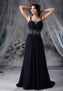Beaded Decorate Straps And Wasit Brush Train Royal Blue Chiffon Prom / Evening Dress