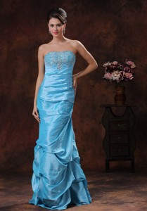Aqua Blue Mermaid Prom Dress Clearances With Beaded Decorate Bust Wholesale