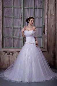 Elegant Princess Strapless Chapel Train Tulle Appliques With Beading Wedding Dress