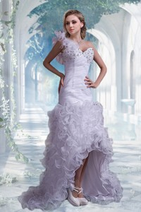 Beautiful Column One Shoulder High Low Wedding Dress With Beading