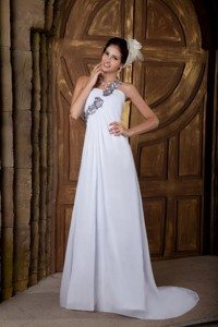 Lovely Empire One Shoulder Brush Train Chiffon Appliques Wedding Dress