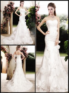Perfect Column Beading Wedding Dress With Brush Train