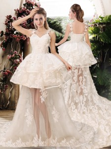 Latest Appliques Straps Wedding Dress With Brush Train