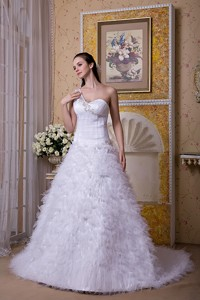 Modest One Shoulder Brush Train Satin And Tulle Appliques Wedding Dress