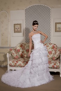 Perfect Strapless Court Train Organza And Lace Sash Wedding Dress