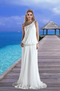 Cheap One Shoulder Pleat Wedding Dress with Court Train for Beach