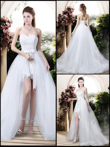 Classical High Low Detachable Wedding Dress With Appliques And Lace